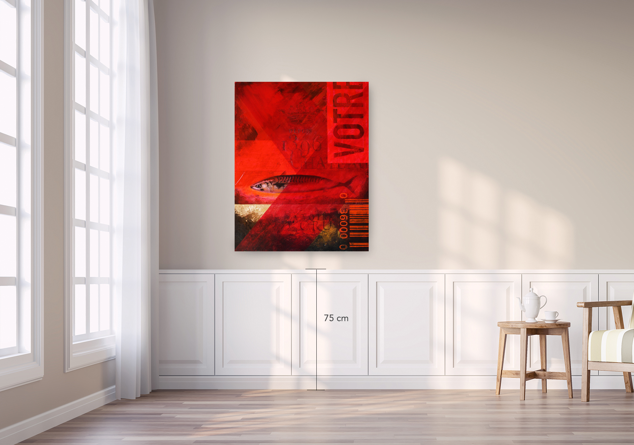 Modern vintage living room with light brown wall 3d render